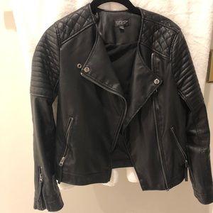 Topshop Black Faux Leather Jacket Size 2 / XS